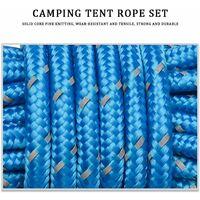 Guy Cordes, 4 pack Tente 4mm Guy Line 13 pieds Cordon de réflexion GURE GUND TENTOR GUIDE Guide de la corde pour auvent Camping Bleu
