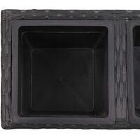 Lit surélevé de jardin à 2 pots 60x30x36 cm Résine Tressée Noir9126-A