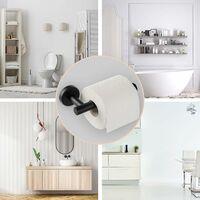 Porte Rouleau Papier Toilette Noir, Support Papier Toilette Mural pour Salle de Bain, Acier Inoxydable SUS 304, Derouleur Papier Toilette WC (Noir)