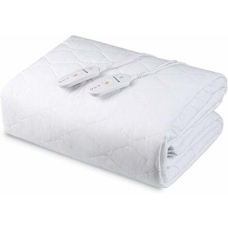 MVPower Sous-couverture chauffante, 150 x 80 cm, Couverture électrique pour lit avec protection d'arrêt automatique et de surchauffe, Sous-couverture chauffante avec 3 niveaux de température, Chauffe-matelas pour tous les matelas standard, lavable, blanc