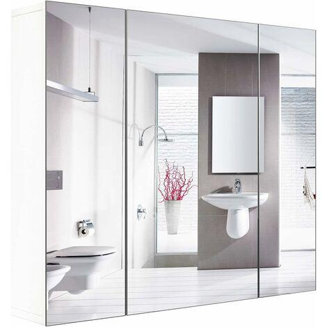 MVPOWER Armoire de salle de bain avec armoire murale miroir avec 3 portes 4 compartiments 70 x 60 x 15 pouces