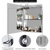 MVPOWER Armoire de toilette LED, miroir de salle de bain en acier inoxydable, miroir lumineux, miroir mural avec interrupteur à capteur tactile d'éclairage, 50 x 13 x 72 cm