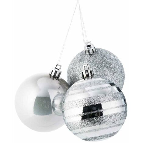 Boule de Noël argentée les 9 pièces Argenté   8286
