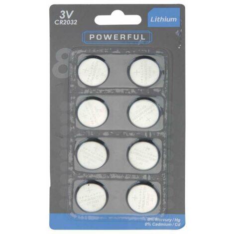 Lot de 8 piles bouton 3 volts CR2032
