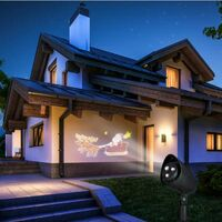 Projecteur de façade lumineux motifs animés rennes et traîneau
