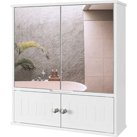 FIXKIT Armoire de Toilettes, Armoire Murale avec Miroir, Meuble de Salle de Bain avec Étagères de Rangement, 2 Portes à Miroire, Armoire à Pharmacie, 55 x 17.5 x 60 cm