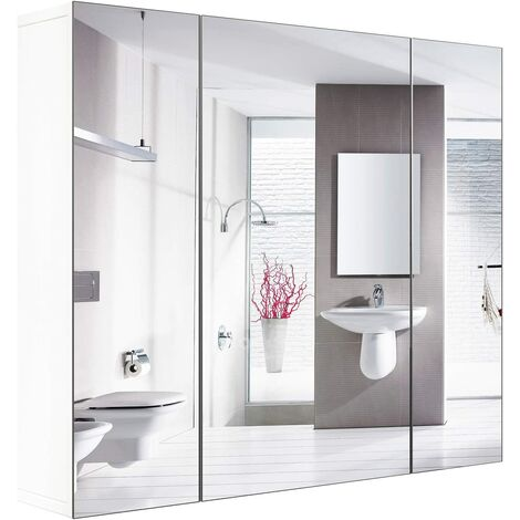 FIXKIT Armoire de salle de bain avec armoire murale miroir avec 3 portes 4 compartiments 70 x 60 x 15 pouces