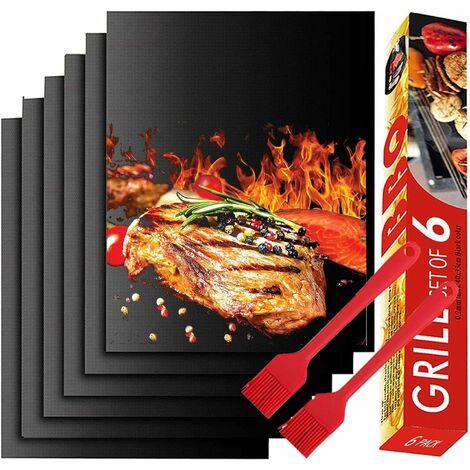 kueatily Feuille Teflon,BBQ Grill Mat Antiadhésif, Set de 6 Tapis Cuisson Barbecue 40x33 CM, Feuilles de Cuisson Réutilisable et Résistant à La Chaleur pour Amateur de Barbecue à Gaz (Noir)