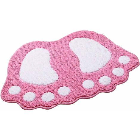 kueatily Tapis de bain antidérapant Motif grands pieds Pour salle de bain, douche Absorbant- Rose40*60CM