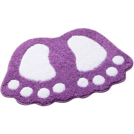 kueatily Tapis de bain antidérapant Motif grands pieds Pour salle de bain, douche Absorbant-Violet 40*60CM