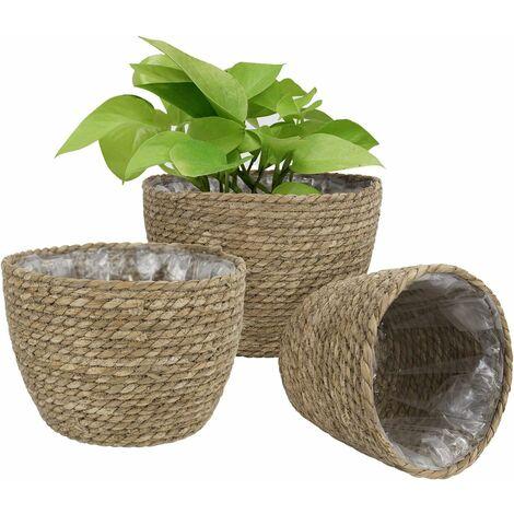 kueatily Panier à Plantes d'herbe de Mer Seagrass pour Un Usage Interne et Externe, Couvercle de Pots de Fleurs, Contenants de Plantes, Naturel(3 Paquets)