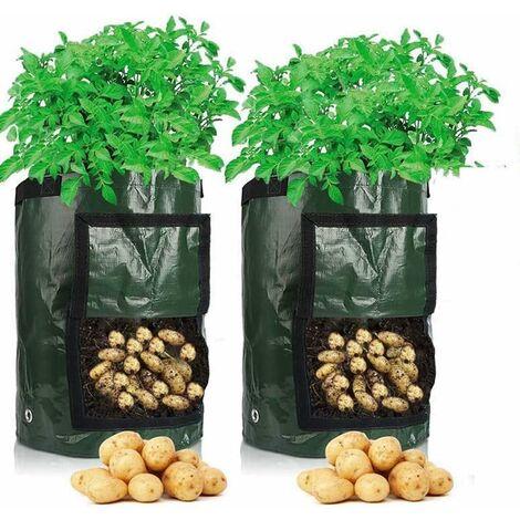 kueatily Sac de Culture de Pommes de Terre Croissance, 2 pcs 10 Gallons Sac de Legumes, 35 x 45 cm en Tissu Durable avec Rabat et poignée
