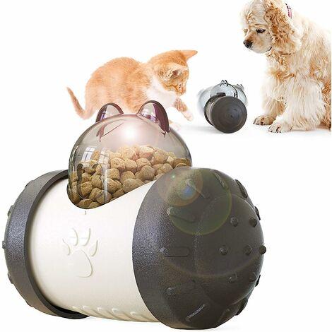 kueatily Distributeur lent interactif pour animaux de compagnie! Boule de voiture roulant balle lente de fuite de nourriture 5.74in * 4.29in * 3.03in-noir et blanc