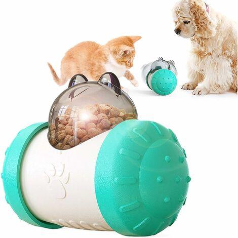 kueatily Distributeur lent interactif pour animaux de compagnie! Boule de voiture roulant balle lente de fuite de nourriture 5.74in * 4.29in * 3.03in-Bleu blanc