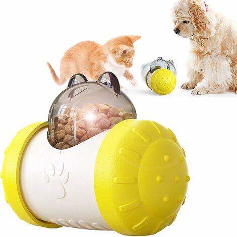 kueatily Distributeur lent interactif pour animaux de compagnie! Boule de voiture roulant balle lente de fuite de nourriture 5.74in * 4.29in * 3.03in-jaune blanc