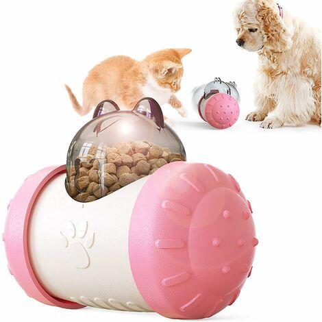 kueatily Distributeur lent interactif pour animaux de compagnie! Boule de voiture roulant balle lente de fuite de nourriture 5.74in * 4.29in * 3.03in-rose blanc