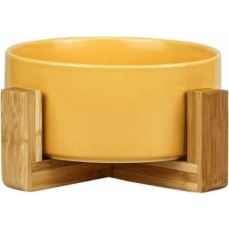 kueatily Jaune Pet Gamelles pour Chien et Chat Gamelles Chien Chat Céramique Support Bambou -Va au Lave-Vaisselle et Facile à Nettoyer