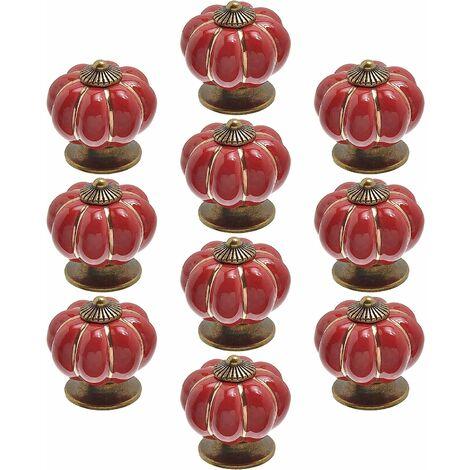 kueatily Lot de 10 Pièces boutons de porte vintage en céramique en forme de citrouille pour placard, tiroir, armoire, décoration d'intérieur Rouge