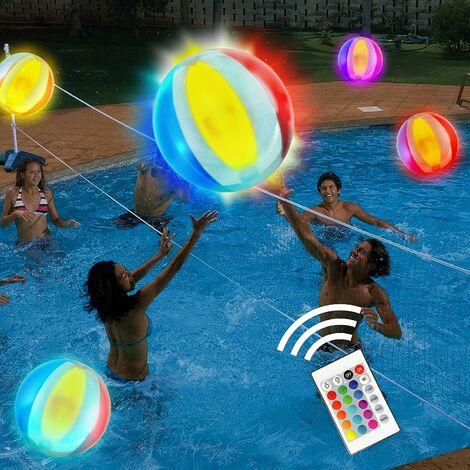 kueatily Jouets pour la piscine Ballon de plage lumineux de 40cmavec 16 couleurs de balles lumineuses et 4 modes d'éclairage pour les jeux de piscine pour adultes et enfants.