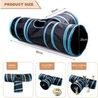 kueatily Tunnel Chat Jeu Chat, Tunnel Lapin Pet Tunnel 3 Way Crinkle Tunnel Tube Pliable Jouet pour Les Chats Lapins, Chiens, Animaux de Compagnie, avec Jouet pour Chat Canne a Peche