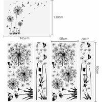 kueatily 2 pièces stickers muraux noirs pissenlits pour la décoration murale, XXL grandes fleurs de pissenlit plantes autocollants collants peintures pour salon chambre antichambre couloir fenêtre 165X130cm