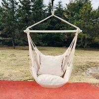 kueatily Chaise hamac - Mobilier d'extérieur - Balançoire d'intérieur portable avec coussin - Pour l'extérieur, l'intérieur, la terrasse, les voyages, le camping- blanc