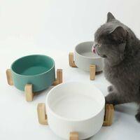 kueatily Blanc Pet Gamelles pour Chien et Chat Gamelles Chien Chat Céramique Support Bambou -Va au Lave-Vaisselle et Facile à Nettoyer