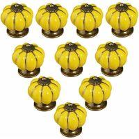 kueatily Lot de 10 Pièces boutons de porte vintage en céramique en forme de citrouille pour placard, tiroir, armoire, décoration d'intérieur Jaune