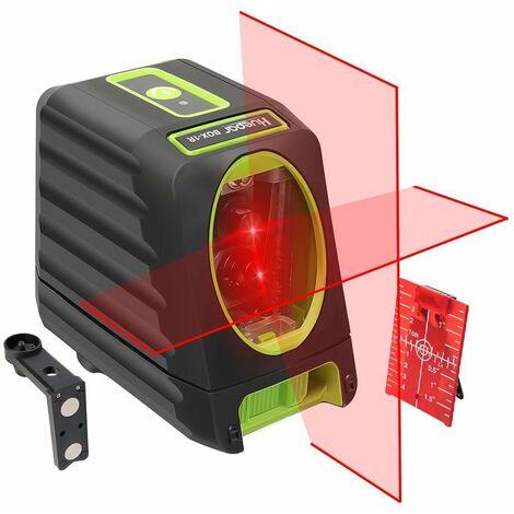 Huepar BOX-1R Niveau Laser Croix Rouge, Ligne Laser Auto-nivellement avec Mode Puls¨¦ Ext¨¦rieur, Commutable Laser Ligne H130¡ã/ V150¡ãAngle de couverture, Distance de Travail 25m, Base Magn¨¦tique Incluse