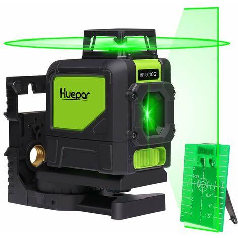 Huepar 901CG 1 x 360 Niveau Laser Croix Vert, Ligne Laser Auto-nivellement Commutable Ligne Horizontale de 360 degr¨¦s avec Mode Puls¨¦ Ext¨¦rieur, Distance de Travail 25m, Support Magn¨¦tique Incluse