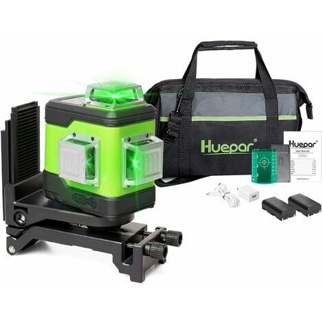 Huepar Niveau Laser Vert ¨¤ 3x360 avec Batterie Li-ion Rechargeable, Laser Level Auto-nivellement Commutable Trois Lignes Laser ¨¤ 360¡ã, Batterie Li-Ion de Rechange et Sac ¨¤ Outils Portable Inclus 503CG