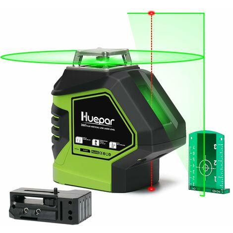 Huepar 621CG 1 x 360 Niveau Laser Croix Vert avec 2 Points Laser, Lignes Laser Auto-nivellement avec Point d'Aplomb et Mode Puls¨¦ Ext¨¦rieur, Distance de Travail 25m, Support Magn¨¦tique Incluse