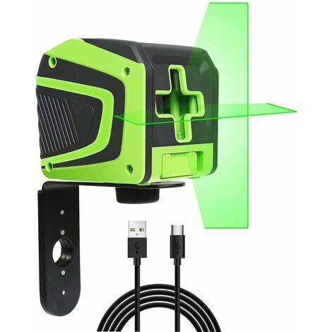 Huepar Niveau Laser en Croix avec Batterie Li-ion Rechargeable - ¨¤ Faisceau Vert ¨¤ Nivellement Automatique avec Mode d'impulsion pour Application au plafond/sol/mur, Port de charge USB-C - 5011G