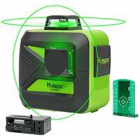Huepar 602CG Niveau Laser Croix Vert, 2 x 360 Laser Level Auto-nivellement Commutable Laser Lignes de 360 degr¨¦s avec Fonction d'impulsion, Distance de Travail 25m, Support Magn¨¦tique Incluse