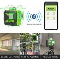 Huepar 3x360 Niveau Laser Vert avec Bluetooth avec Perche T¨¦lescopique Laser de 3,7m, Auto-nivellement Commutable Trois Lignes Laser ¨¤ 360¡ã, Niveau Laser avec Mode Puls¨¦, Lunettes Incluses - 603LP