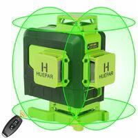 Huepar 16 lignes 4D ligne crois¨¦e de niveau Laser ligne de faisceau vert avec batterie Li-ion pour carreaux de sol multifonction et t¨¦l¨¦commande 904DG