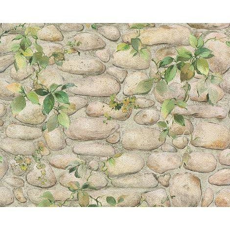 Leaf Floral Brick Effect Wallpaper Stone Slate Textured Embossed White Beige