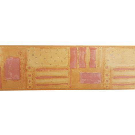 Square stripe Vinyl Wallpaper Border Orange Burnt Yellow Terracotta