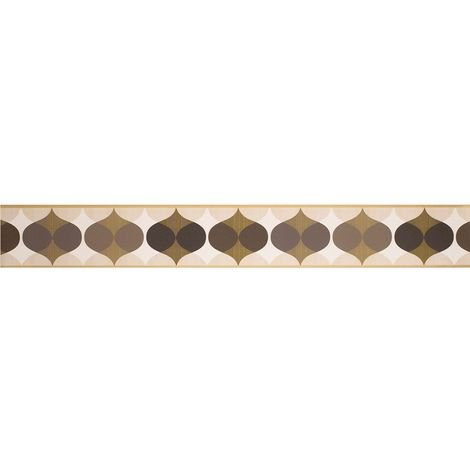 K2 Geometric Wallpaper Border Ornament Retro Chocolate Brown Cream Peel Stick