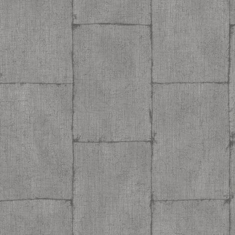 Blocks Bricks Steel wallpaper Industrial Grey Silver Metallic Paste Wall Vinyl