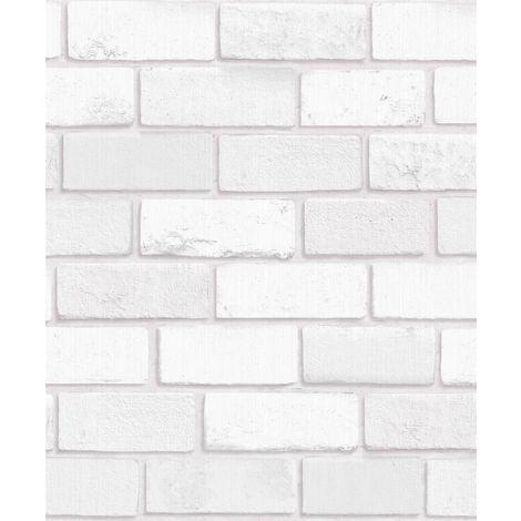 3D Brick Effect Wallpaper White Glitter Shimmer Vinyl Textured Kitchen Arthouse