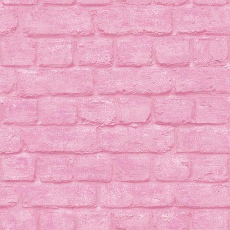 3D Brick Effect Wallpaper Pink Urban Embossed Textured Industrial Metallic