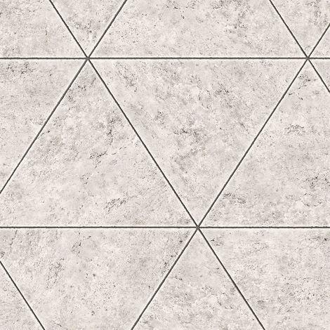 Marble Stone Tile Geometric Wallpaper Grey Metallic Distressed Fine Decor