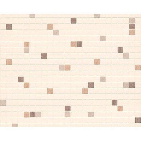 Mosaic Tiles Wallpaper Kitchen Bathroom Expanded Vinyl Brown Beige Off White