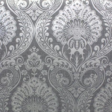 Damask Wallpaper Gunmetal Grey Silver Metallic Shimmer Textured Arthouse Decoris