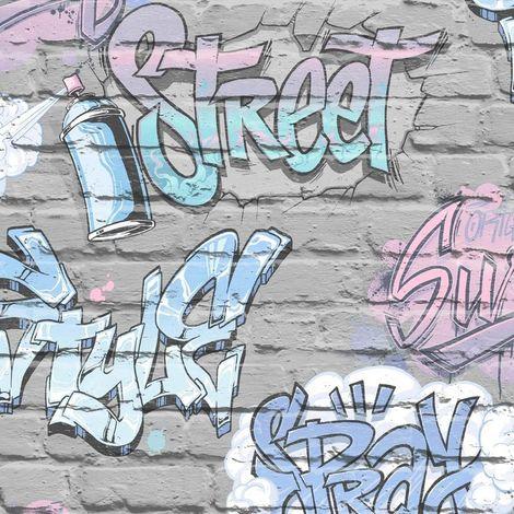 Children's Graffiti Brick Wallpaper Metallic Pink Blue Grey Lilac Urban Ugepa