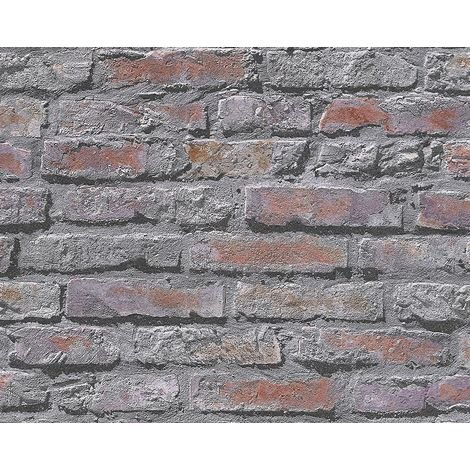 3D Effect Stone Brick Wall Wallpaper Red Grey Industrial Distressed Textured