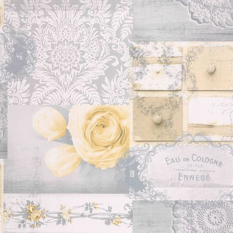 Decoupage Patchwork Floral Wallpaper Flowers Yellow Grey Silver Metallic Crown