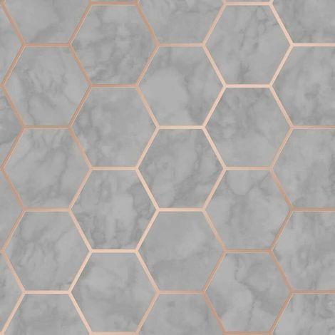 Hexagon Geometric Marble Wallpaper Kitchen Charcoal Rose Gold Metallic Vinyl