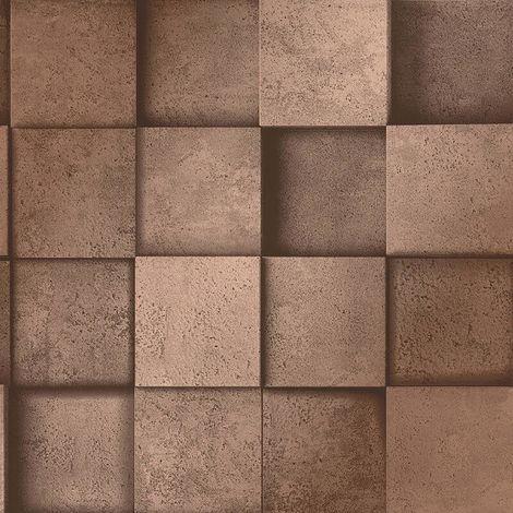 3D Effect Square Stone Brick Copper Metallic Wallpaper Fine Decor Dimensions